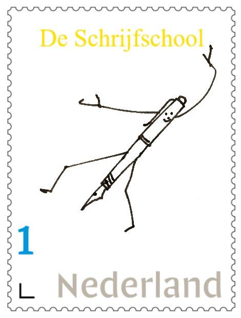 Postzegel De Schrijfschool